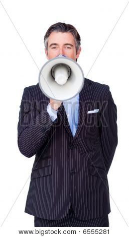 Confident Businessman Rowing Through A Megaphone
