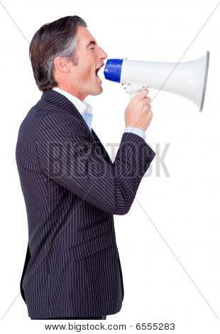 Attractive Businessman Rowing Through A Megaphone