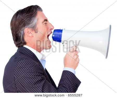 Businessman Shouting Instructions Through A Megaphone