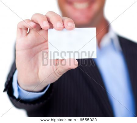 Close-up Of A Businessman Holding A White Card