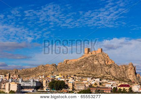 Alicante Sax village castle and skyline in Spain