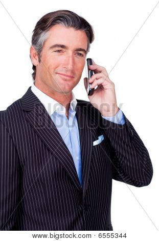 Confident Businessman Using A Mobile Phone
