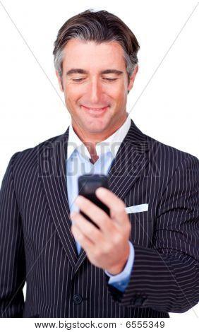 Attractive Businessman Sending A Message