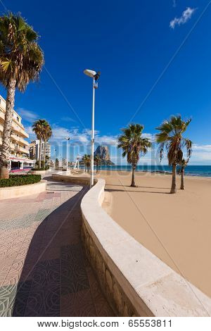 Calpe playa Arenal Bol beach near Penon de Ifach at Alicante spain