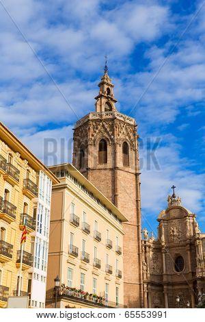 Valencia cathedral and Miguelete in plaza de la Reina square Spain