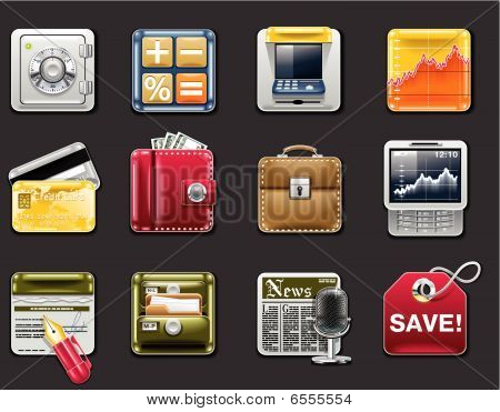 Vector universal square icons. Part 5. Banking (gray background)