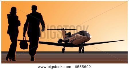 Vector business-jet at runway