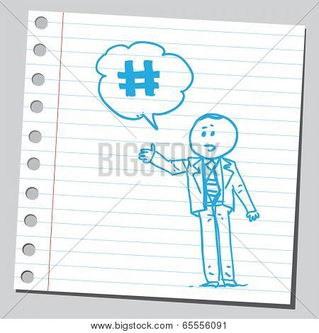 Businessman and hash-tag sign
