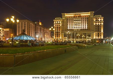 Manezh Square, The State Duma Building And Four Seasons Hotels Moscow. Moscow. Night.