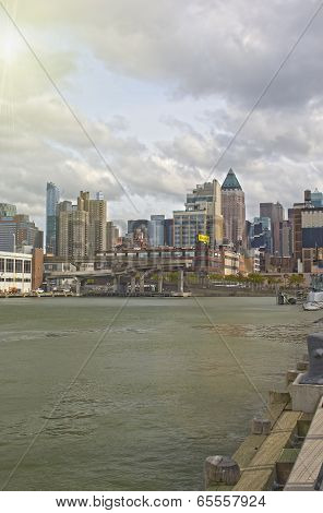 New York, Usa - October, 9: New York City Panorama Viewed From Intrepid Museum In New York, October