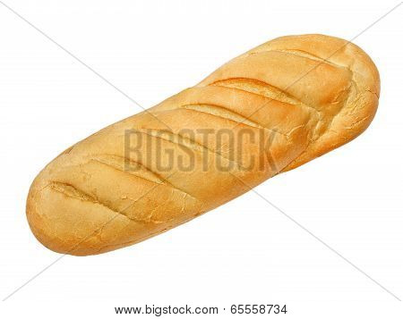 Appetizing Long Loaf Bread Taken Closeup.isolated.