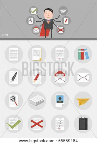 Vector set / Paper / 16 flat design icons