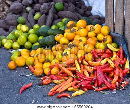 Fresh Vegetables And Fruits At The Local Market In South America