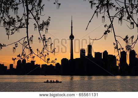 Toronto Sunset Silhouette With  Canoeists In The Water