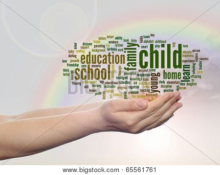 Concept or conceptual child and education abstract word cloud, human man hand, rainbow sky background