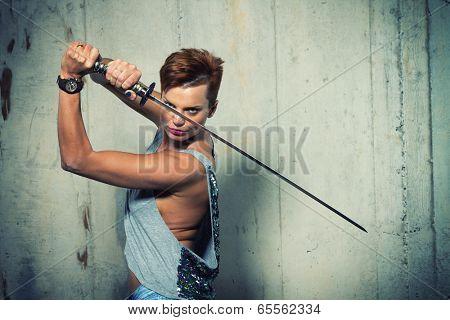Female Warrior  with her Katana sword