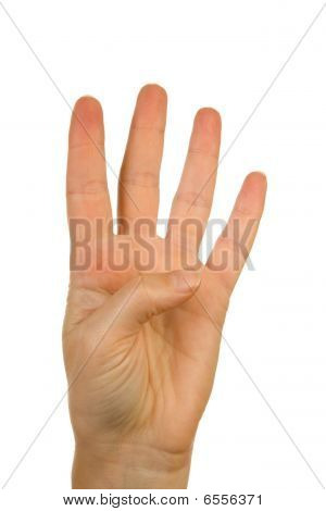 Hand Is Counting Number 4