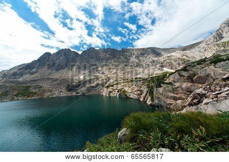Colorado Mountain Lake And Waterfall