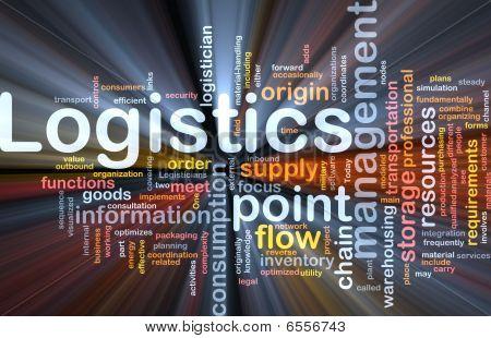Logistik-Wort-Wolke glühenden