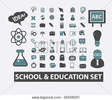 school, education, study, learning, science icons set, vector