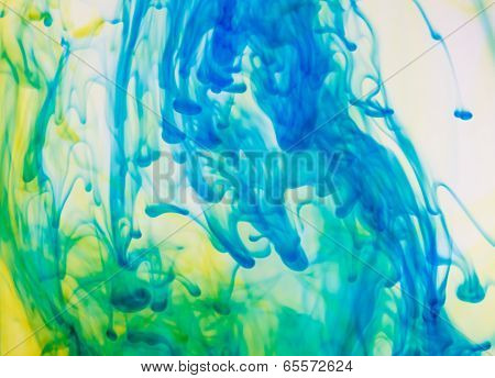 Colored Ink Cloud Grows In Water.