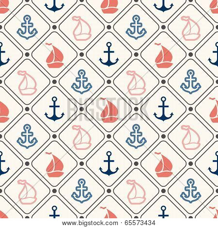 Seamless vector pattern of anchor, sailboat shape in frame