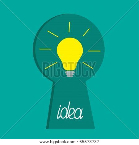 Keyhole and idea light bulb inside. Flat design.