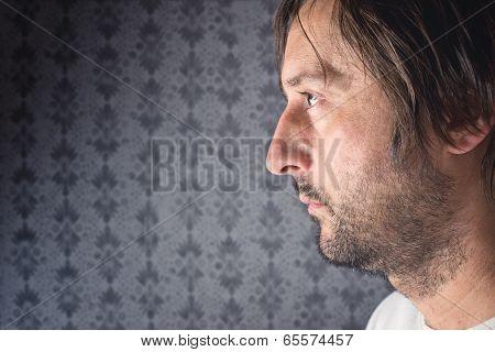 Unshaven Man Profile Portrait
