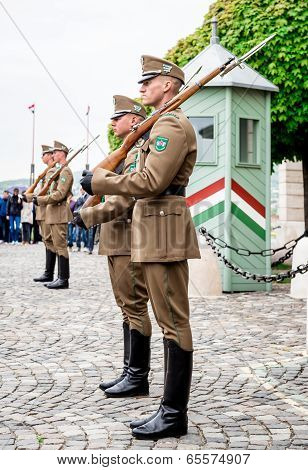 Budapest, Hungary-17  April, 2014: Changing Of The Guards In The Buda Castle,  One Of The Buda Castl