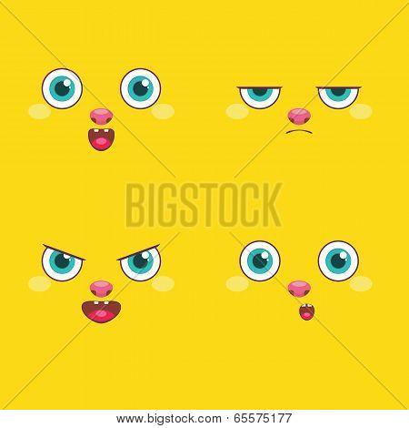 vector set - smiley faces