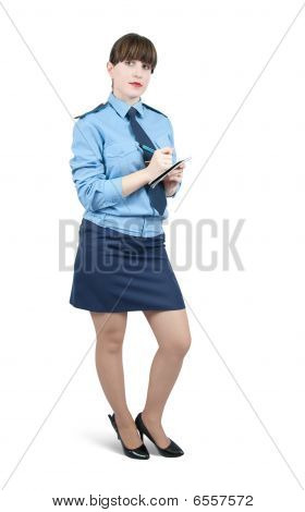 Woman In Uniform  Writing On Her Notepad