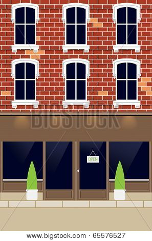 Facade Of House And Market - Place For Your Text