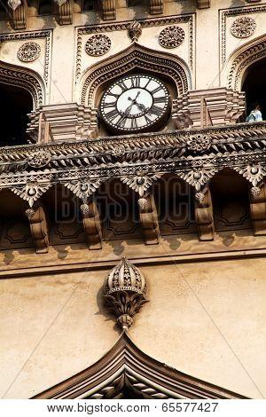 Closeup View Of Clock In Charminar, Hyderabad, Andhrapradesh