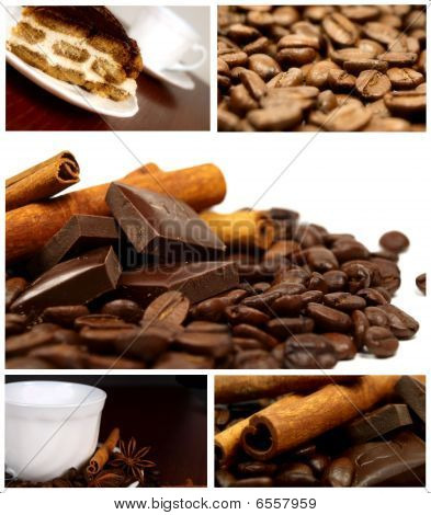 Beautiful Coffee Collage with various coffee photos