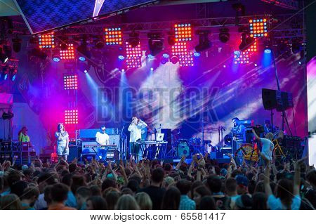 MOSCOW - MAY 24: Assai group performs at Bosco Fresh Festival in Muzeon Park on May 24, 2014 in Moscow. The mission of this festival is to find new talent and releasing them on the big stage.