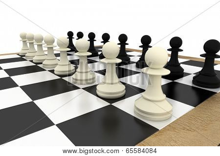 White and pawns facing off on board on white background