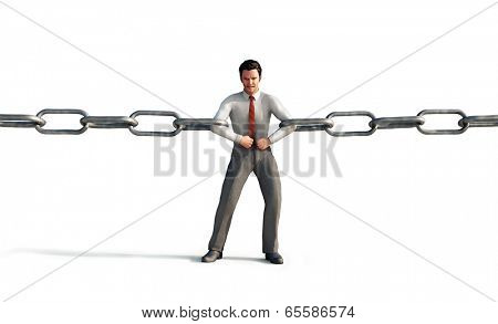 businessman connecting chain