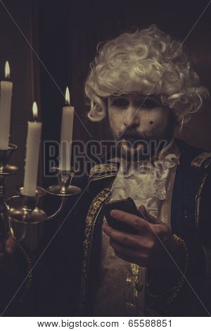 Selfie, selft-portrait man with white wig and candlestick nineteenth century