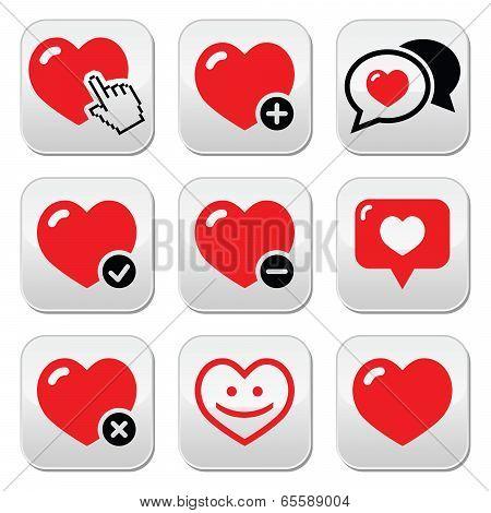 Heart, love vector icons set