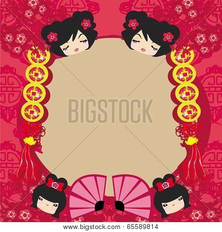Kokeshi Dolls Cartoon Character , Beautiful Abstract Card