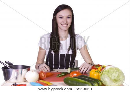 Cute Teenager Preparing Food