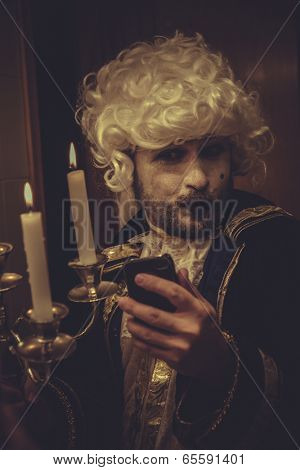 Selfie, man with white wig and candlestick nineteenth century