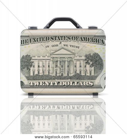 Business Suitcase For Travel With Reflection And 20 Dollars Note-recto