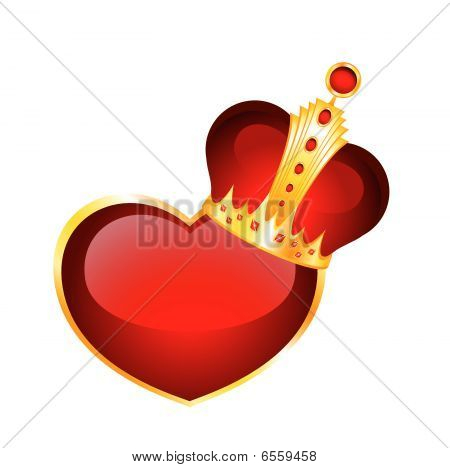 red heart in a crown
