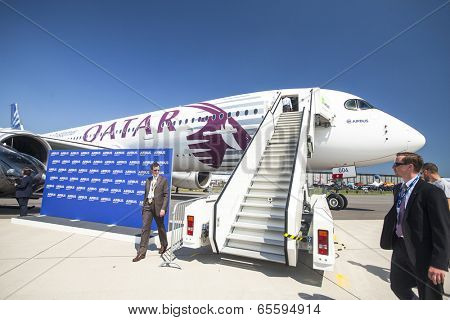 BERLIN, GERMANY - MAY 20, 2014: The aircraft Airbus A350 XWB, demonstration during the International Aerospace Exhibition ILA Berlin Air Show-2014.