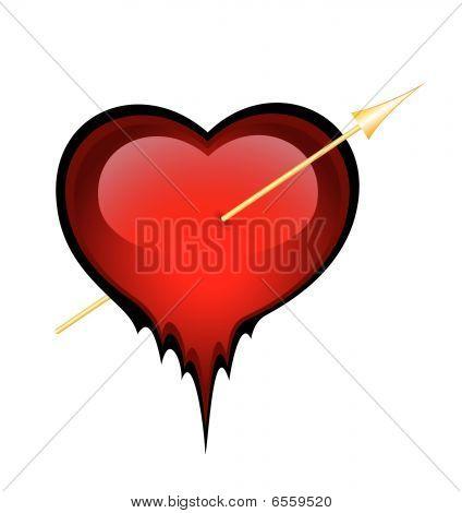 red heart is broken through