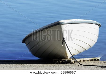 White Shallop On A Background Of Water