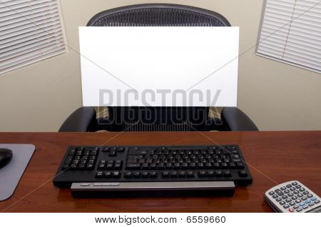 Desk And Blank Sign