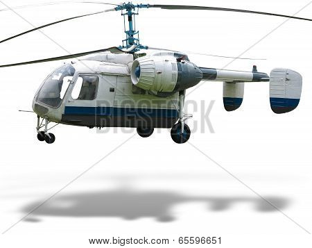 Ka-26 Russian Double Rotor Helicopter Isolated On White Background With Shadow