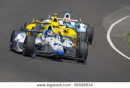 Indianapolis, IN - May 25, 2014:  Indy driver, Jaques Lazier (21), runs the 98th annual Indianapolis 500 at the Indianapolis Motor Speedway in Indianapolis, IN.